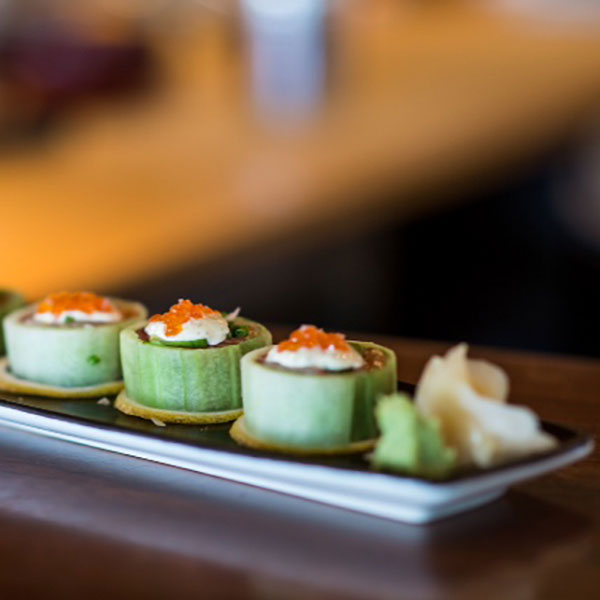 the kyuri maki roll wrapped in cucumber ribbons